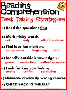 Test taking vocabulary and more posters and strategy cards to ease reading comprehension test taking strategies poster fandeluxe Choice Image