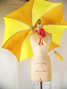 Bright yellow umbrella.
