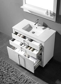 Adornus Turin 30 inch White Modern Bathroom Vanity, Free standing all wood cabinet, available in a smooth walnut veneer and white high gloss enamel finish, 3 drawers finished in light grey interior. 30 Inch Bathroom Vanity, White Bathroom, Small Bathroom, Bathroom Vanities, 30 Vanity, Lavender Bathroom, Master Bathrooms, Eclectic Bathroom, Bathroom Interior Design