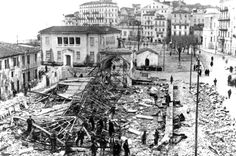AFTER THE  BOMBARDMENT AND THE FOLLOWING FIRES - GERMAN ARHIVES! Hillside Village, Corfu Town, Corfu Island, Corfu Greece, Cypress Trees, Old Photos, Paris Skyline, Lush, Scenery