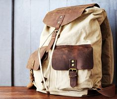 Canvas Backpack Rucksack Schoolbag Leather Backpack Handmade Leather Bag on Etsy, $51.61