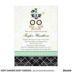 MINT DAMASK BABY CARRIAGE BABY SHOWER CARD Cute and sweet mint green, gold and black and white damask baby carriage baby shower invitations. This elegant and SOPHISTICATED design with an infant pram with an antique and vintage style pattern with jade hued ruffles and a gold baby stroller handle is perfect for a damask lace and floral themed shower for a baby boy or baby girl. A printed contrast stitch ribbon and crisscross look design with a subtle damask pattern and gold baroque flourishes…