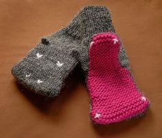 Knit Hippopotamus Mittens, Animal Hand Puppets, 4-5mm, $5.00