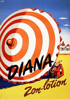 Diana Suntan Lotion 1940s Vintage Beach Posters Prints