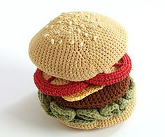Make this play-food hamburger (or veggie burger!) for your child or as a gag gift for a playful adult. (Lion Brand Yarn)