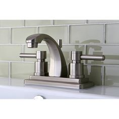 Add lasting beauty and charm to your bathroom decor with the Concord bathroom faucet. This satin nickel faucet features double-lever handles and brass construction. Clawfoot Tub Faucet, Lavatory Faucet, Bronze Bathroom, Bathroom Faucets, Hall Bathroom, Bathrooms, Bathroom Hardware, Refinish Kitchen Cabinets, Kitchen Cabinet Doors