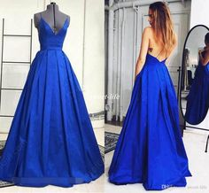 Under $100 Cheap Long Prom Dresses Royal Blue Spaghetti Straps Backless Pleat Satin Full Length 2016 Sexy Evening Party Gowns Formal Dress Online with $78.81/Piece on Sweet-life's Store | DHgate.com