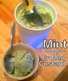Low carb mint chocolate chip frozen custard. 2g net carbs!
