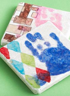 Handprint Coaster Craft - Cute Father's Day Gift!