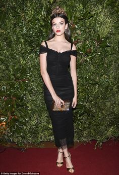 Another young star: Sonia Ben Ammar wore a crown and a fitted black dress to the event...