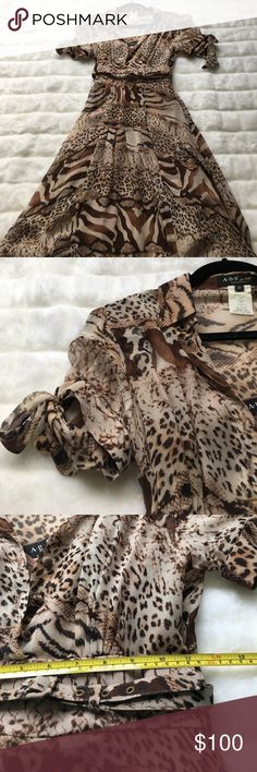 """ABS SILK LEOPARD PRINT DRESS 100 % silk dress ⚜️this is sold as 2 piece with satin polyester slip included⚜️super delicate soft silk fabric⚜️ there are a few runs, barely visible when on⚜️see pictures⚜️side zipper⚜️silk Belt included⚜️underarm to underarm 16""""⚜️ skirt length from waste 62 inches ABS Allen Schwartz Dresses"""