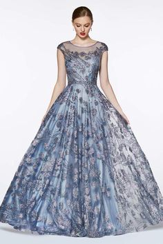 Long Cap Sleeve Glitter Print Dress by Cinderella Divine Indian Gowns Dresses, Ball Gown Dresses, Prom Dresses, Formal Dresses, Bridal Dresses, Quinceanera Dresses, Ladies Dress Design, Beautiful Gowns, Pretty Dresses