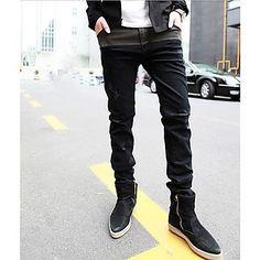 Homens contraste de cor emenda slim Jeans – BRL R$ 42,36