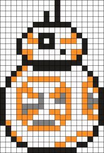 BB 8 Perler Bead Pattern / Bead Sprite - Mine Minecraft World Melty Bead Patterns, Kandi Patterns, Perler Patterns, Beading Patterns, Pixel Art Star Wars, Pixel Art Grid, Bb8 Star Wars, Draw Minecraft, Minecraft Pixel Art