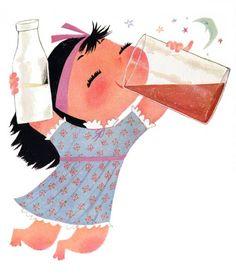 girl + chocolate milk : illustration by mary blair Mary Blair, Disneyland, Disney Artists, Arte Disney, Little Golden Books, Children's Book Illustration, Illustration Styles, Digital Illustration, Illustrations Posters
