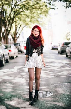 Le Happy wearing Joa striped skater dress and White and Warren scarf