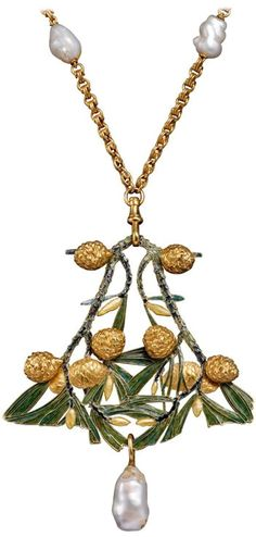 Rene Lalique Automne Enamel Pearl Gold Pendant  