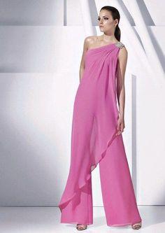 Vestido de fiesta en pantalones largos en color rosa
