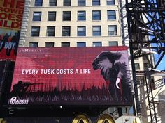 Crowd-funded billboard brings elephant poaching crisis to NYC's Time Square #ElephantConservation #elephant