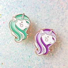 Everyday is a great hair day with our magical lilac unicorn pin! Details: - tall - Soft enamel pin - Polished copper metal - 1 rubber clasp included - Ships as a single pin on… Kawaii, Pins Badge, Grunge, Unicorn Jewelry, Magical Unicorn, Mint Color, Pin And Patches, 2 Colours, Lilac