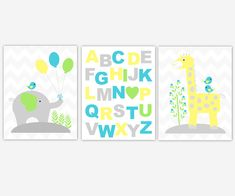 Baby Boy Nursery Art Yellow Blue Green Elephant Giraffe ABC Alphabet Gray Grey Jungle Safari Zoo Animal Prints Baby Nursery Decor Boy Nursery Cars, Baby Boy Nursery Themes, Baby Boy Rooms, Baby Boy Nurseries, Baby Room, Boy Wall Art, Nursery Wall Art, Nursery Room, Yellow Nursery Decor