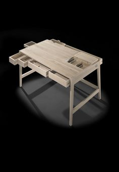 Wewood Portuguese Joinery - a compact and functional workspace, which is able to keep organized in its daily use, working at home as well as in a professional environment without missing a clean and elegant aesthetic. Its construction is entirely in solid wood without using nails or screws in the structure, which added it some technical difficulties that evolved for a bold structure solution, in which all fixed parts are involved and its top is in the centerpiece.