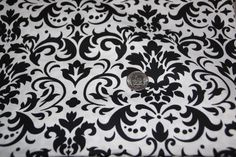 White and Black Damask Fabric - One Yard - Marshall Dry Goods - pinned by pin4etsy.com