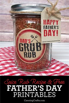 Father's Day BBQ Spice Rub with Free Printables. For a Father's Day gift, give dad the gift of spice... BBQ Spice Rub that is! Mix up a batch of this Grub Rub for a quick mason jar gift. CanningCrafts.com