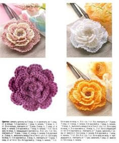 Irish crochet and many other beautiful flower patterns on this site. Close-up of pink and cream rose also posted on this page. Love Crochet, Irish Crochet, Crochet Motif, Crochet Stitches, Knit Crochet, Crochet Crafts, Yarn Crafts, Crochet Projects, Crochet Flower Tutorial