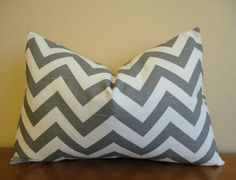 SINGLE LUMBAR 12 X 18 Pillow Cover // Chevron Grey with Slubbed Texture
