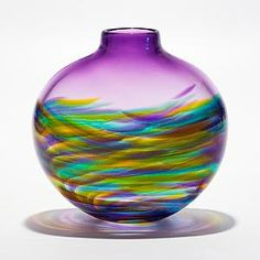 Small Flat Vortex Vase Tiffany with Grape: Michael Trimpol, Monique LaJeunesse: Art Glass Vase Art Of Glass, Blown Glass Art, Glass Bottles, Glass Vase, Perfume Bottles, Fused Glass, Carnival Glass, Vases Decor, Glass Design