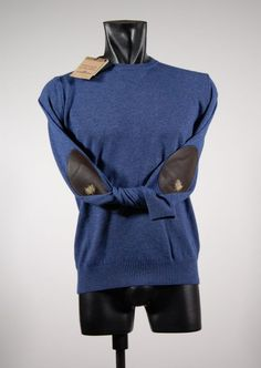 Round neck sweater with leather patches ocean star. Made in Italy