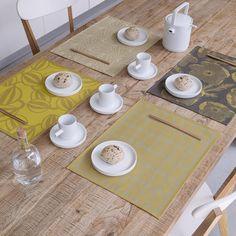 Set enduit A la carte Anis 48x36 100% coton - La Table - Le Jacquard Français