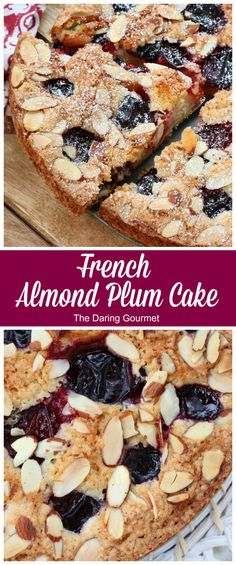 This French Almond Plum Cake features a delightfully delicate crumb infused with the flavor of almonds and juicy plums. Easy to make and works equally well with apricots or cherries - it's a guaranteed hit! Pastry Recipes, Baking Recipes, Dessert Recipes, Gourmet Desserts, Plum Desserts, Pastry Shop Interior, French Pastry School, St Honoré, Pastry Display