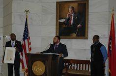 Past & Present Arkansas African American Legislators, 2/11/2014, Arkansas State Capitol. Arkansas Representative Eddie L. Armstrong with a Resolution recognizing his support of the Curtis H. Sykes Memorial Grant Program.