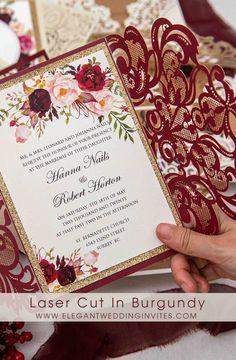 laser cut invitation wrap in popular burgundy color #burgundy #weddinginvitations #ewi