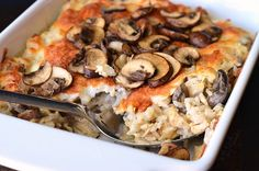 Delicious, creamy, cheesy rice casserole made with lots of mushrooms and chicken. This casserole will make a perfect family dinner that everyone will love. Creamy Chicken Casserole, Rice Casserole, Casserole Recipes, Mushroom Casserole, Chicken Mushroom Rice, Chicken Rice, Cheesy Chicken, Baked Chicken, Susan Recipe