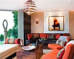 Tribal Chic Transitional Living Room by Lisa DeLena #interiordesign