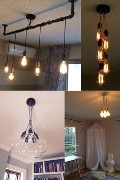 Custom 5 Pendant Light Cluster ANY Cord Colors, ANY Hardware Finishes, and ANY Cord lengths. HOW TO ORDER: Select bulb choice from the drop down menu Leave us a note during checkout to specify: - Length Details - Cord Color - Socket Color - Ceiling Plate Color LENGTH and