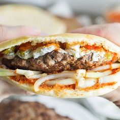 Pljeskavica - Traditional Serbian Burger Recipe - - Forget about fast food chain places and make yourself a real burger. This big Serbian guy is bursting with flavor! Albanian Recipes, Bosnian Recipes, Croatian Recipes, Bosnian Food, Serbian Food, Albanian Cuisine, Hungarian Recipes, Recipes, Burger Recipes