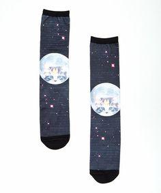 Loving this Black Moon Cat Tube Socks on #zulily! #zulilyfinds