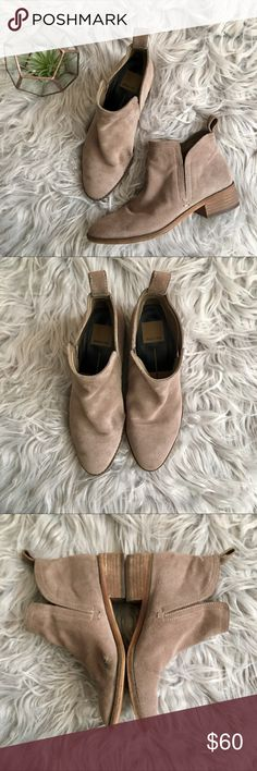 """Dolce Vita 'Tessey' Suede Ankle Boots Taupe suede pull-on ankle booties. 1.5"""" heel. Note the area on the right  boot where the material is thin. The boots aren't that worn, just a defect. Priced as such. Please carefully review each photo before purchase as they are the best descriptors of the item. My price is firm. No trades. First come, first served. Thank you! :) Dolce Vita Shoes Ankle Boots & Booties"""