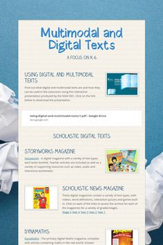 Multimodal and Digital Texts - A focus on by Laura Chaffey Teacher Tools, Teacher Resources, Eal Resources, Teaching Reading, Team Teaching, English Teaching Resources, 21st Century Learning, 4th Grade Reading, Digital Literacy