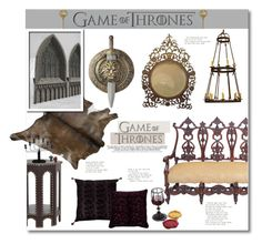 """""""Game Of Thrones"""" by anitadz ❤ liked on Polyvore featuring interior, interiors, interior design, home, home decor, interior decorating, Lux & Bloom, ThinkGeek, Laura Lee Design and Ystad-Metall"""