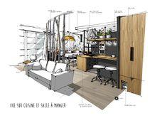 Croquis Architecture, Architecture Images, Interior Design Sketches, Sketch Design, Lofts, Perspective Sketch, Loft Kitchen, Interior Concept, Concept Board