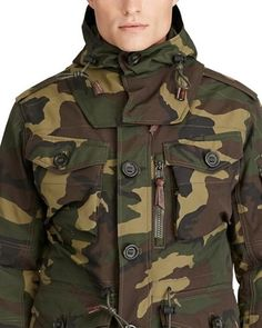 Inspired by a Canadian paratrooper's coat from the this water-repellent jacket by Polo Ralph Lauren combines a military-grade shell with a removable hood. Army Camo, Military Army, Military Jacket, Military Uniforms, Jacket Men, Motorcycle Jacket, Ralph Lauren Mens Shirts, Polo Ralph Lauren, Lauren Green