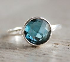 Silver London Blue Topaz Ring  Gemstone Ring  Stacking by OhKuol, $63.00