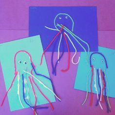 "My kindergarten art class has begun an ""ocean"" unit. This was instant idea (beats the state's suggested maker project if you ask me :)). Quick and easy octopuses helped students count to eight and practice fine mirror skills at same time."