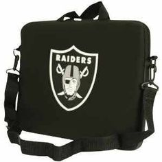 """Oakland Raiders Neoprone Laptop Bag with Shoulder Strap by NFL. $19.99. Our NFL neoprene laptop bags are designed to fit 15"""" 16"""" and most 17"""" laptops and are approved to pass airport security without removing the equipment from the bag. Some 17"""" laptops are designed with a wider border and may not fit this bag. (inner bag dimensions: 11 ¾""""t x 15""""w) Shoulder strap is included."""
