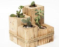 Small flowerbeds for succulent plants and cactus by Esprit Loft Récup. Wooden Pallet Projects, Diy Pallet Furniture, Woodworking Projects Diy, Wooden Pallets, Diy Wooden Planters, Wooden Diy, Pallet Planters, Decoration Palette, Palette Diy